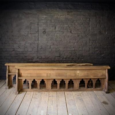 19C Gothic Carved Oak Church Prayer Rail - 1 Available