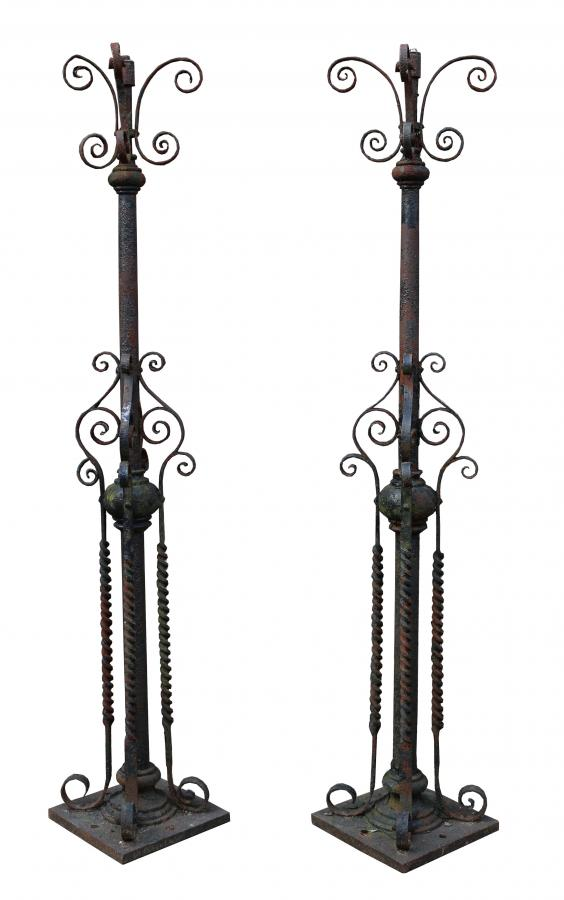 Pair Of English Wrought Iron Lamp Posts C.1900