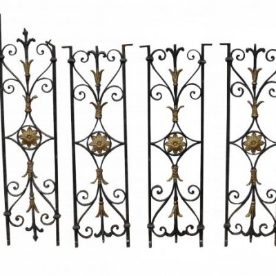 Six Fine Quality Wrought Iron Staircase Balustrades C. 1800