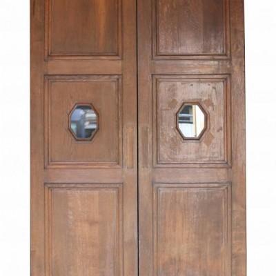 Pair Of Oak Double Doors With Glazing C.1900