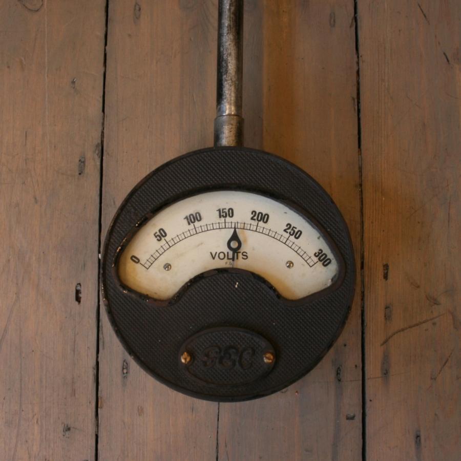 Vintage Industrial Volt Meter Wall Light