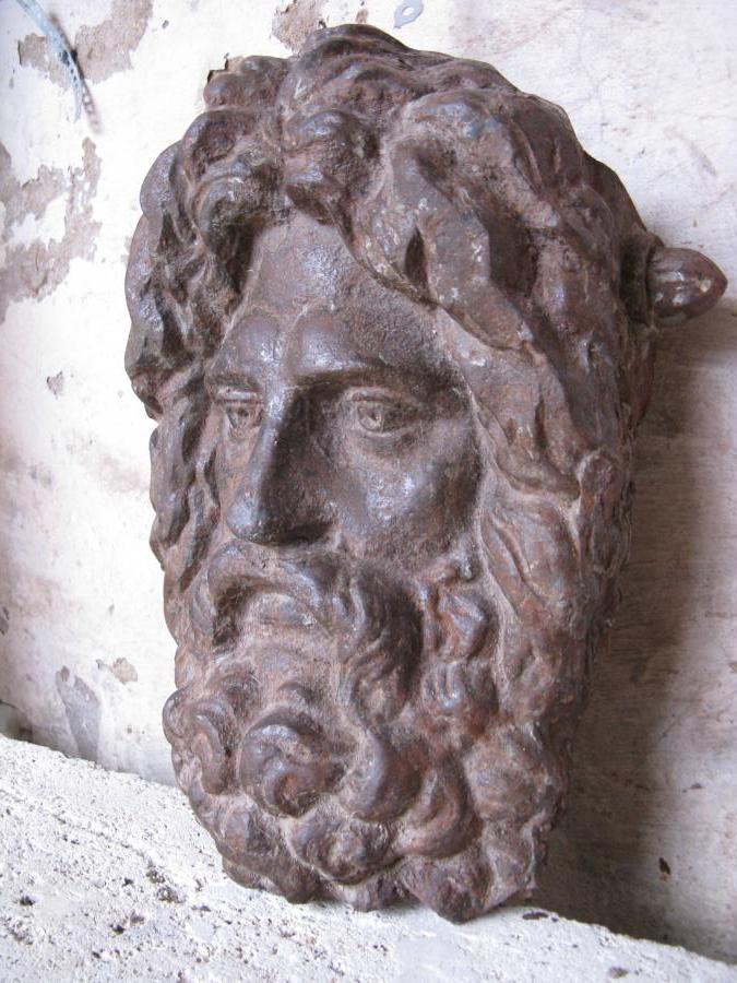 Antique Cast Iron Mask Of Poseidon
