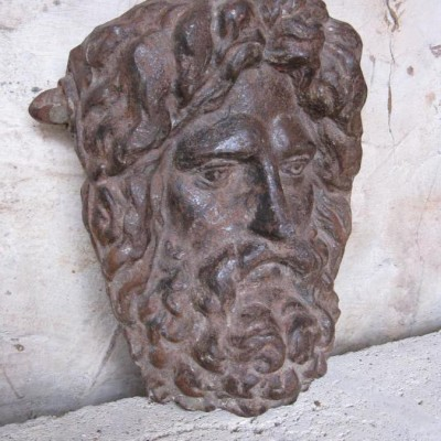 Antique Cast Iron Mask Of Poseidon