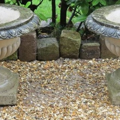 Pair of Reconstituted Stone Garden Planters / Pots