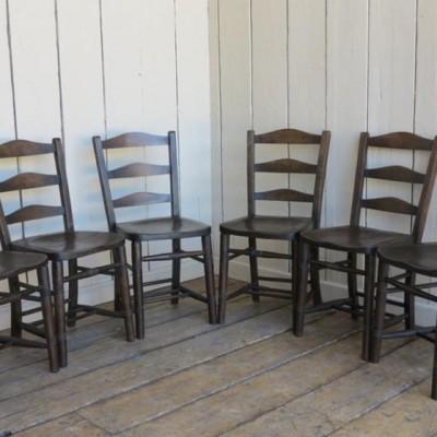 Set of 6 Mid Victorian Antique Dark Wooden Church Chairs