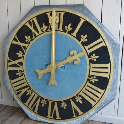 Large Antique Lead Octagonal Clock Face with Hands