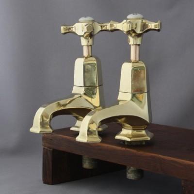 Large Art Deco Brass Taps