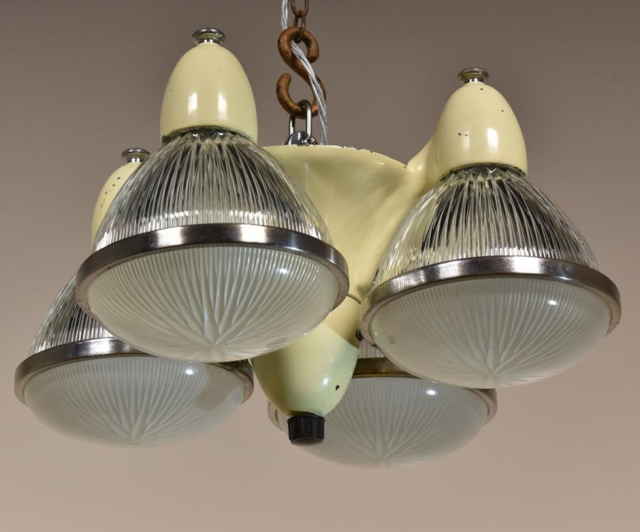 antique 1940s dental chandelier holophane shades