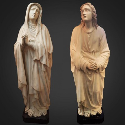 Victorian Life Size Plaster Statues of Virgin Mary & St John