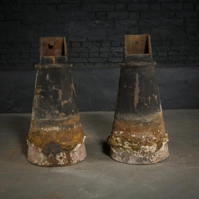 Pair 19th C Cast Iron Post Bases