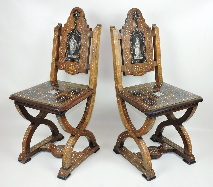 Pair Italian 19th Century Chairs side hall antique & For Sale Pair Italian 19th Century Chairs side hall antique- SalvoWEB UK