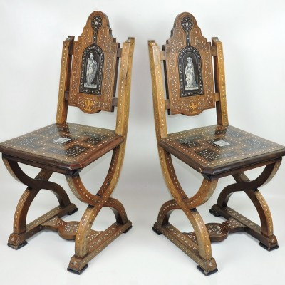 Pair Italian 19th Century Chairs side hall antique