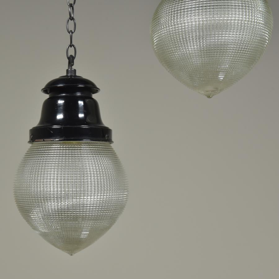 trio small antique holophane lanterns