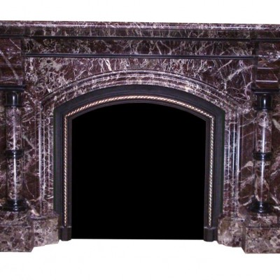 19th century red Levanto marble fireplace
