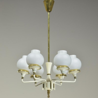 1950s  6 arm brass and glass chandelier