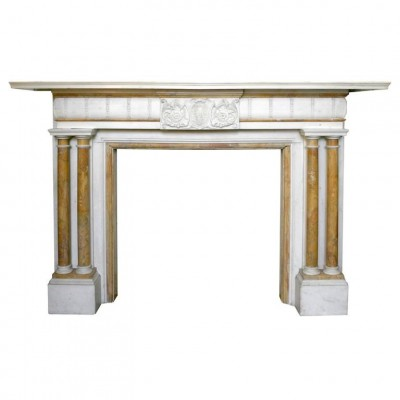 Grand Antique Statuary and Sienna Marble Fire Surround