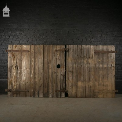Large Pair of Ledged and Braced Barn Doors with Double Latch