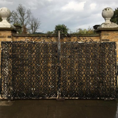 A pair of cast iron gates