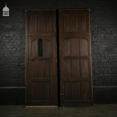 Edwardian Douglas Fir Church Panelling with Opening Door