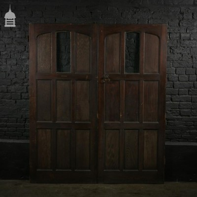 Pair of Pine Glazed Church Double Doors with Original Iron Work