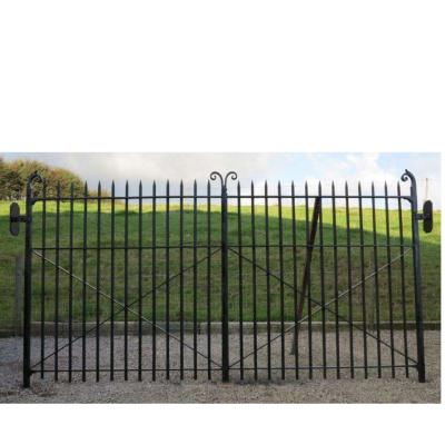 Reclaimed Pair of Driveway Iron Gates and Hinges