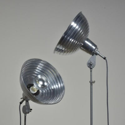 pair vintage adjustable photographic floor lamps