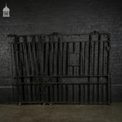 20th C Heavy Duty Iron Driveway Gates with Pedestrian Opening