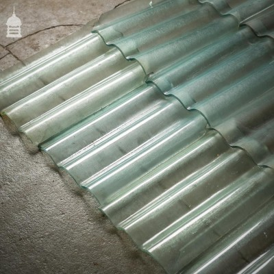 Reclaimed Corrugated Glass Pan Tiles
