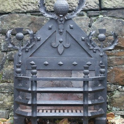 Large Wrought Iron Neo Gothic  Firebasket