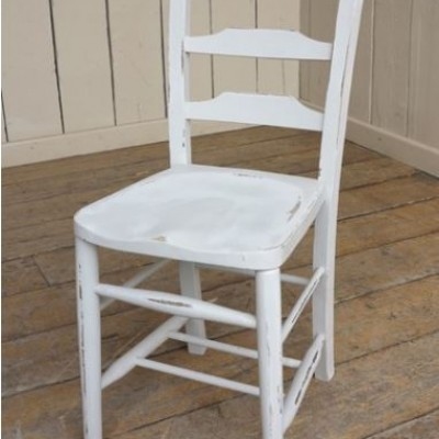 Reclaimed Distressed Painted Wooden Church Chairs