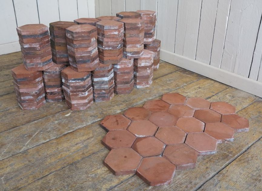 For Sale Reclaimed Terracotta Hexagon Quarry Floor Tiles- SalvoWEB UK