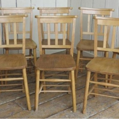 Set of 8 Antique Church Chairs without Bible Backs