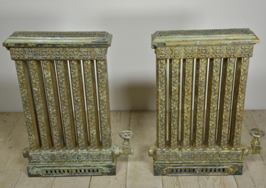 rare pair antique 19th century grilled top cast iron radiators