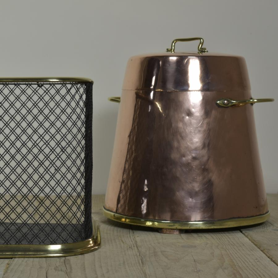 antique copper and brass dutch coal or wood bin