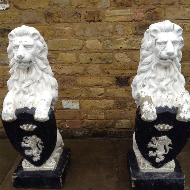 Pair of Ornate Lion Statues