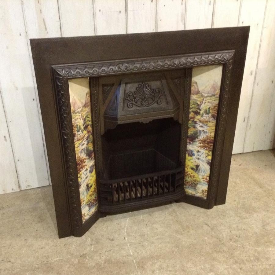Tiled Cast Iron Art Nouveau Fireplace Insert