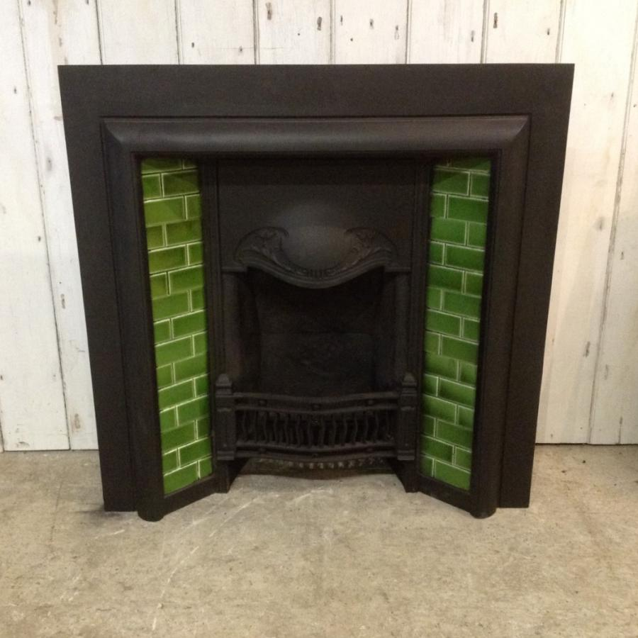 Victorian Cast Iron Insert with Green Tiles