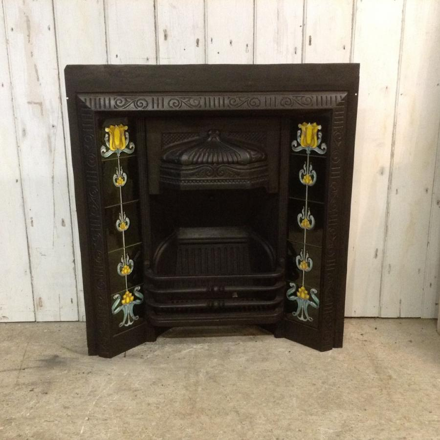 Ornate Victorian Cast Iron Fireplace Insert