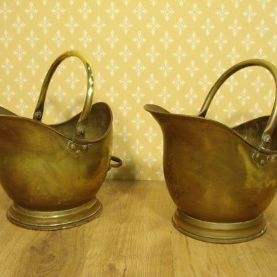 Pair of 19th century brass coal scuttles