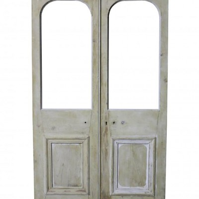 Pair Of Victorian Stripped Pine French Double Doors