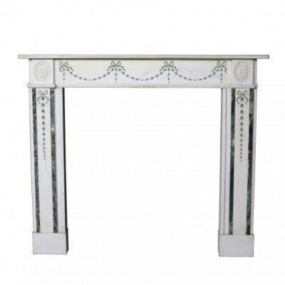 Late 19th Century Statuary Marble Fireplace Mantel With Scagliol