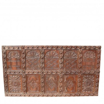 Large English Antique Carved Oak Panel