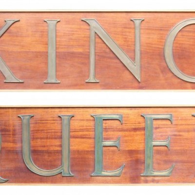 Pair Of Large Signs For ' King' And ' Queen'