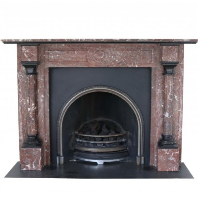 Late 19th Century English Rouge Marble Fire Surround With Grate