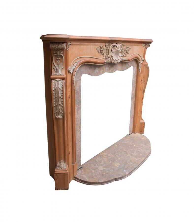 Pine And Composition 1930s French Rococo Style Fireplace