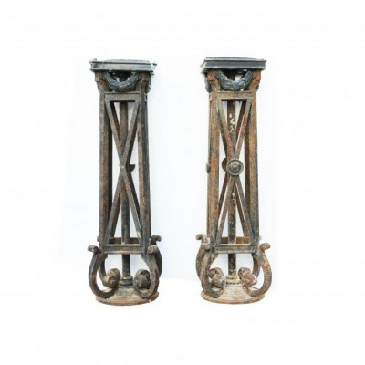 Pair Of English 19th Century Wrought Iron Lamp Stands