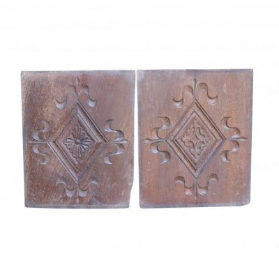 Late 19th Century Pair Of Salvaged Carved Oak Plaques/panels