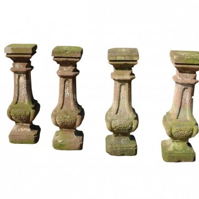 Salvaged Group Of Four Composition Stone Baluster Pedestals