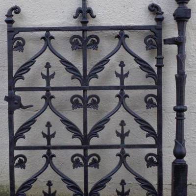 Victorian cast iron pedestrian gate & post.