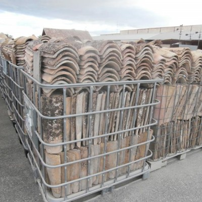 Reclaimed terracotta barrel roof tiles - large quantity availabl
